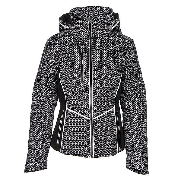 NILS Flo Womens Insulated Ski Jacket, Velocity Print-Black-White, 600