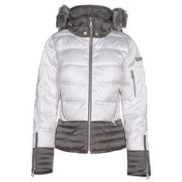 NILS Liv Fur Womens Insulated Ski Jacket, White-Pewter, 256