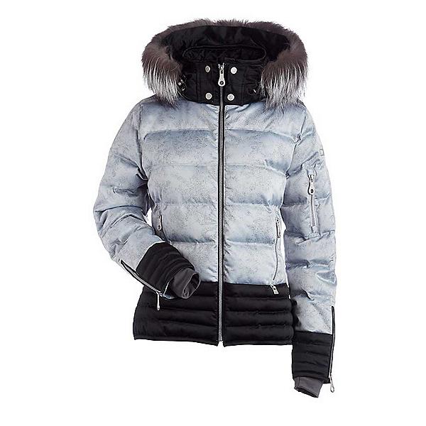NILS Liv Fur Womens Insulated Ski Jacket, Silver Mist Print-Black, 600