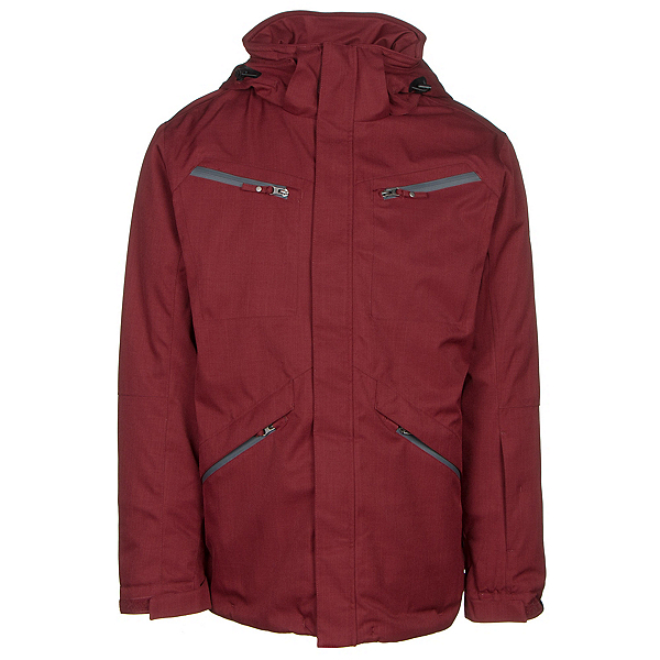 Karbon Silica Mens Insulated Ski Jacket, Burgundy-Charcoal-Black, 600