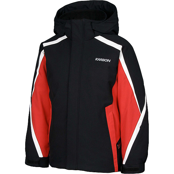 Karbon Merlin Boys Ski Jacket, Black-Red-Arctic White, 600