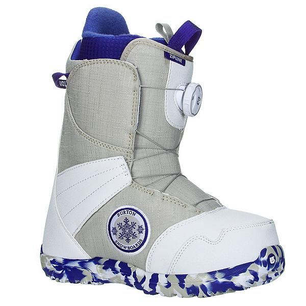 Burton Zipline Boa Girls Snowboard Boots, White-Gray, 600