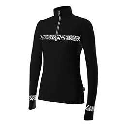 Newland Ada Half Zip Womens Long Underwear Top, Black-White, 256