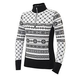 Newland Brunilde Half Zip Womens Long Underwear Top, Black-White, 256