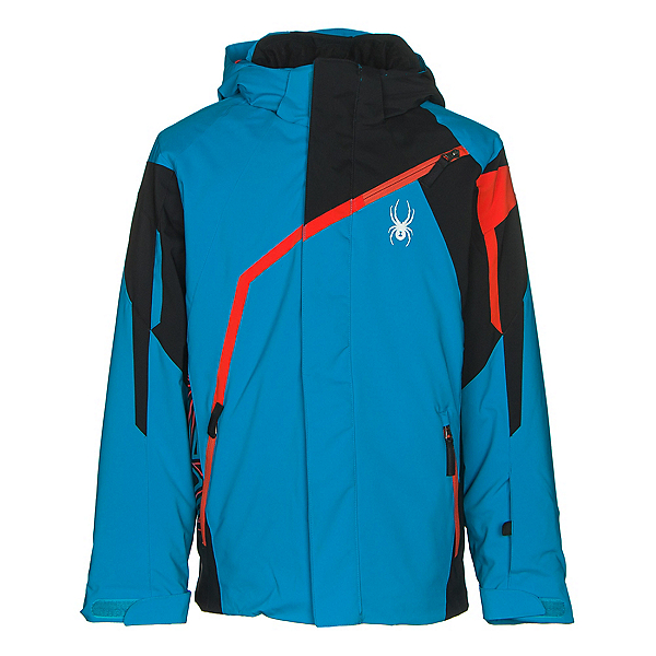 Spyder Challenger Boys Ski Jacket, Electric Blue-Black-Rage, 600