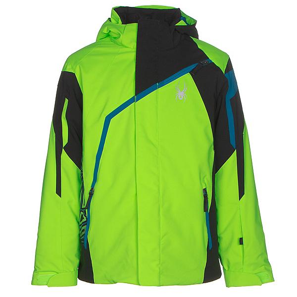 Spyder Challenger Boys Ski Jacket, Bryte Green-Black-Concept Blue, 600