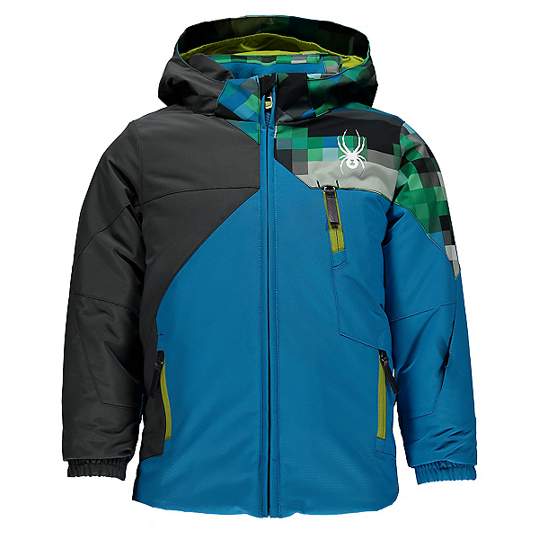 Spyder Mini Ambush Toddler Ski Jacket, Electric Blue-Polar-Pixel Electric Blue, 600