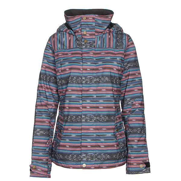 Burton Jet Set Womens Insulated Snowboard Jacket, Mala Stripe, 600