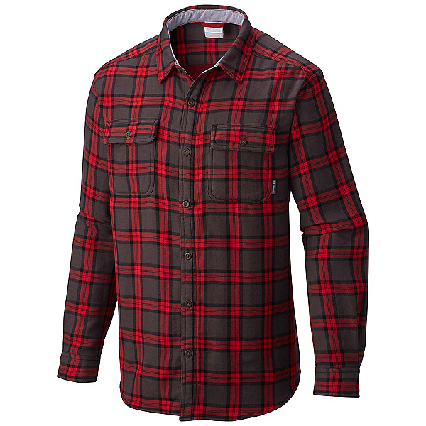 Columbia Hoyt Peak Mens Flannel Shirt, Mountain Red Grid, 600