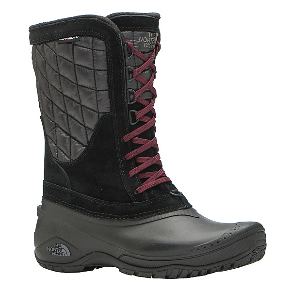 The North Face ThermoBall Utility Mid Womens Boots (Previous Season), TNF Black-Deep Garnet Red, 600
