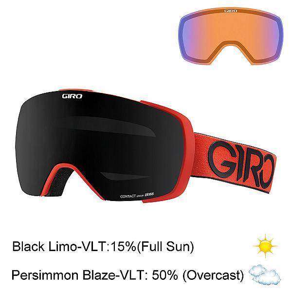 Giro Contact Goggles, Red Black Dual-Black Limo + Bonus Lens, 600