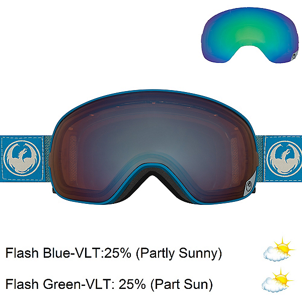 Dragon X2 Goggles, Hone Blue-Optimized Flash Blue + Bonus Lens, 600