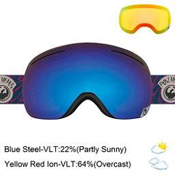Dragon X1 Goggles, Pow Heads Red-Blue Steel + Bonus Lens, 256