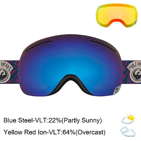 Dragon X1 Goggles, Pow Heads Red-Blue Steel + Bonus Lens, 600