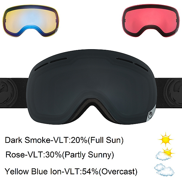 Dragon X1s Goggles 2017, Knight Rider-Dark Smoke + Bonus Lens, 600