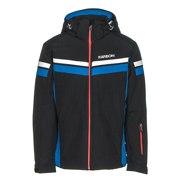 Karbon Chromium Mens Insulated Ski Jacket, Black-Olympic Blue-Arctic Whit, 600