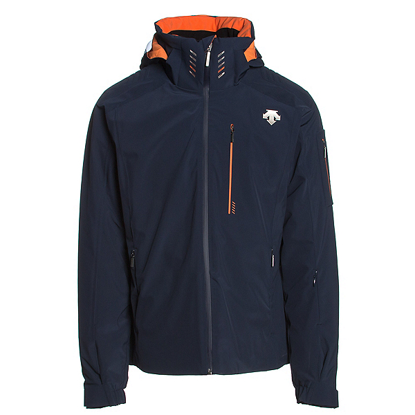 Descente Regal Mens Insulated Ski Jacket, Navy-Salamander Orange, 600