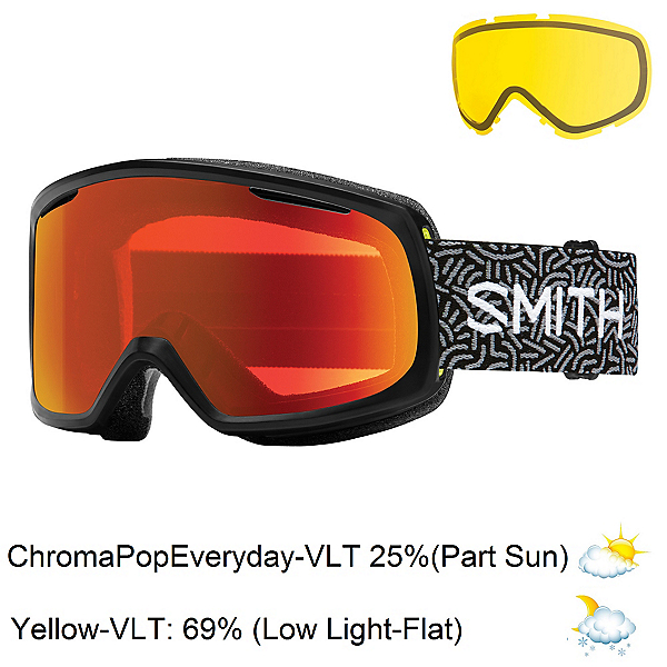 Smith Riot Womens Goggles, Black New Wave-Chromapop Every + Bonus Lens, 600