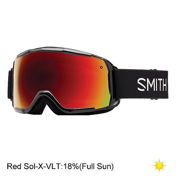 Smith Grom Kids Goggles 2018, Black-Red Sol X Mirror, 600