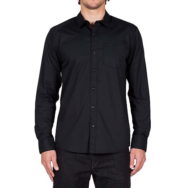 Volcom Everett Solid Long Sleeve Mens Shirt, Black, 600