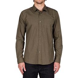 Volcom Everett Solid Long Sleeve Mens Shirt, Military, 256