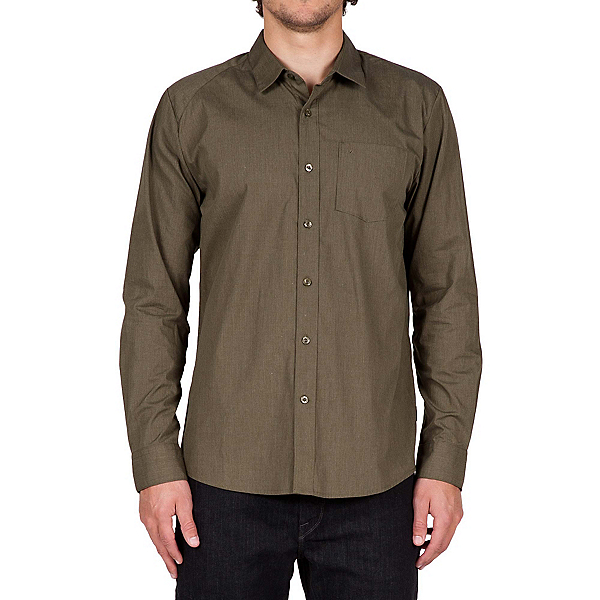 Volcom Everett Solid Long Sleeve Mens Shirt, Military, 600