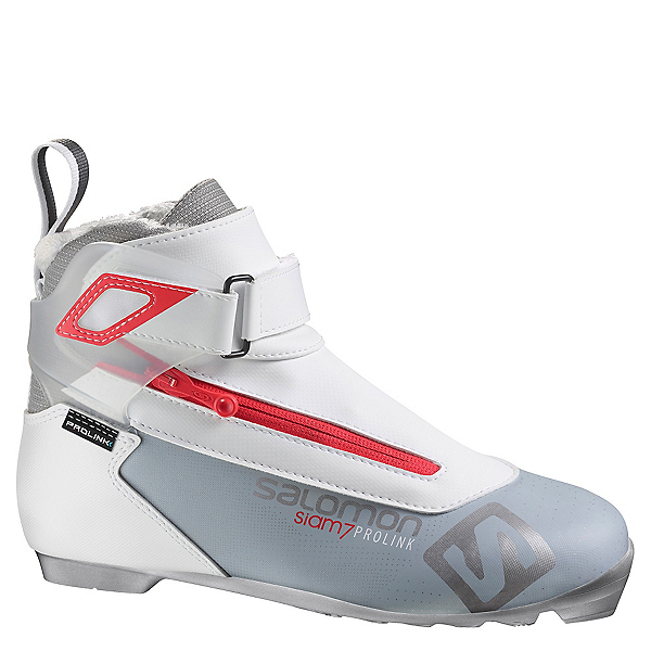 Salomon Siam 7 Prolink Womens NNN Cross Country Ski Boots 2019, Light Grey-Red, 600