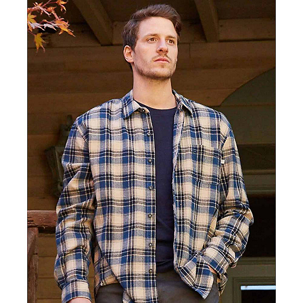 Purnell Blue Cream Plaid Flannel Flannel Shirt, Blue-Cream, 600