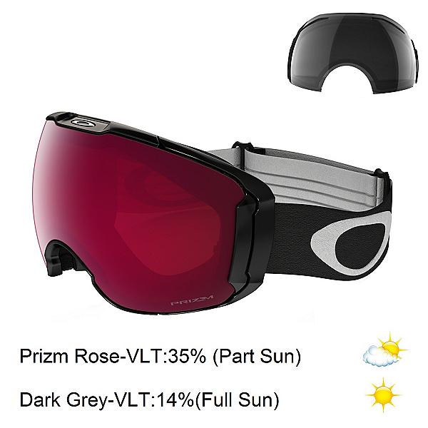 Oakley Airbrake XL Prizm Goggles, Jet Black-Prizm Rose Iridium + Bonus Lens, 600