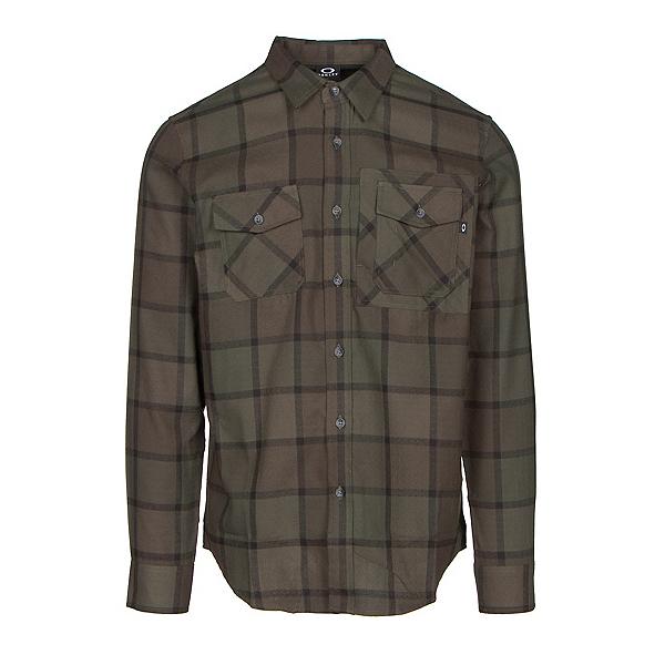 Oakley Adobe Woven Mens Flannel Shirt, Dark Brush, 600