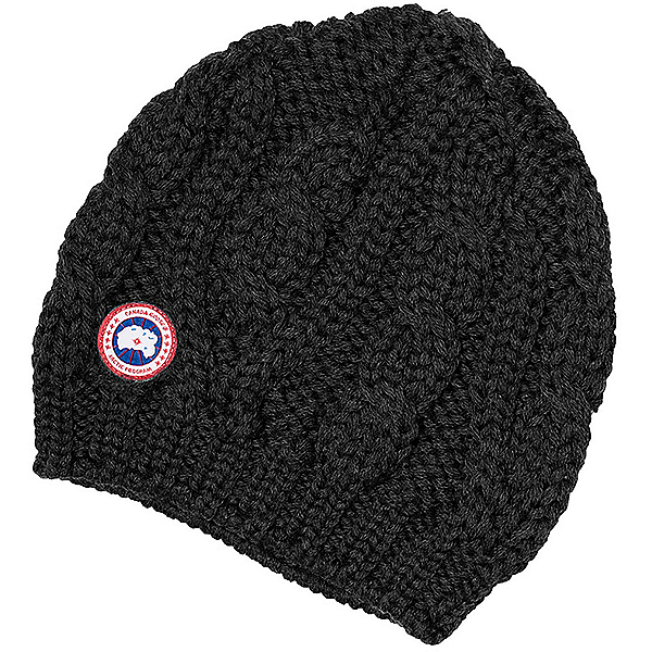 Canada Goose Chunky Cable Knit Beanie Womens Hat, Black, 600