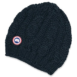 Canada Goose Chunky Cable Knit Beanie Womens Hat, Navy, 256