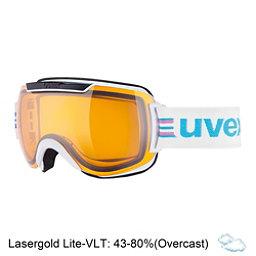 Uvex Downhill 2000 Race Goggles, White-Black-Lasergold Lite, 256