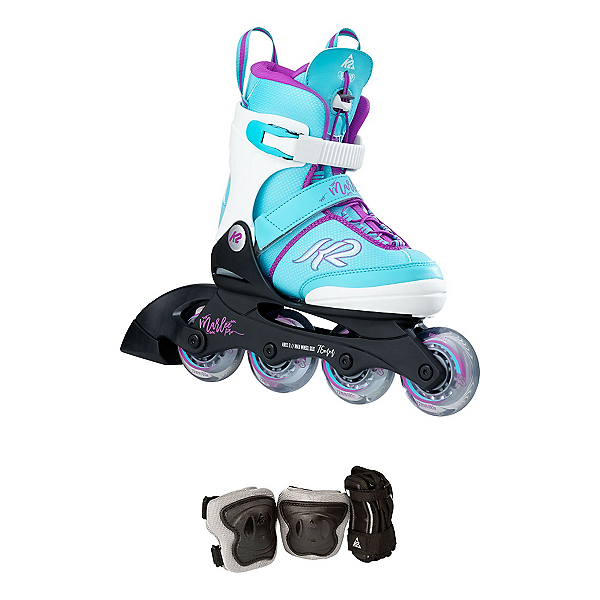 K2 Marlee Pro Pack Adjustable Girls Inline Skates 2018, Light Blue, 600