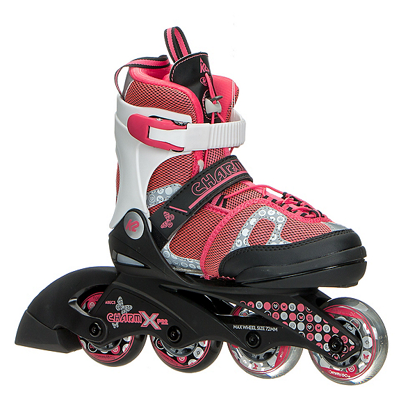 K2 Charm X Pro Adjustable Girls Inline Skates, Black-Pink, 600