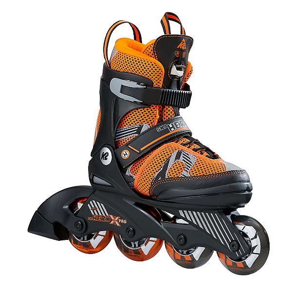 K2 Sk8 Hero X Pro Adjustable Kids Inline Skates, Black-Orange, 600