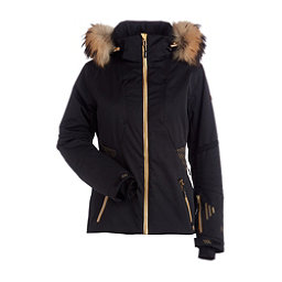NILS Dakota Special Edition Fur Womens Insulated Ski Jacket, Black-Metallic Gold Velocity P, 256