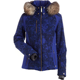 NILS Josie Real Fur Womens Insulated Ski Jacket, Indigo Winter Winds Print-Indi, 256