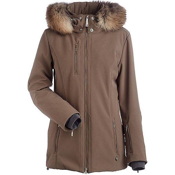 NILS Maribel Real Fur Womens Insulated Ski Jacket, Almondine, 600