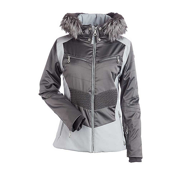 NILS Penny Fur Womens Insulated Ski Jacket, Pewter-Silver, 600