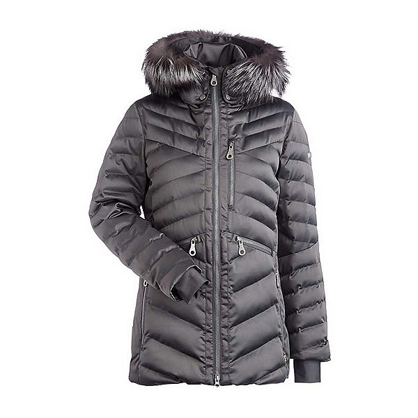 NILS Raina Fur Womens Insulated Ski Jacket, Pewter, 600