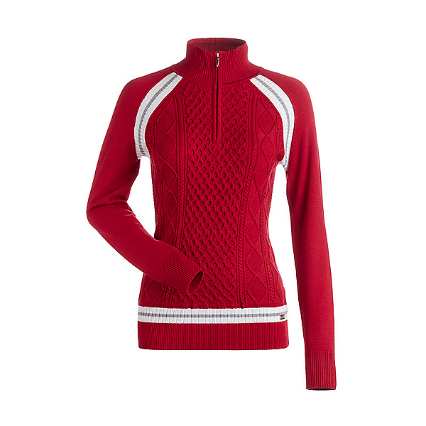NILS Hillary Womens Sweater, Cherry-White-Silver, 600