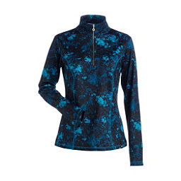 NILS Robin Print Womens Long Underwear Top, Dark Teal Winter Winds Print, 256