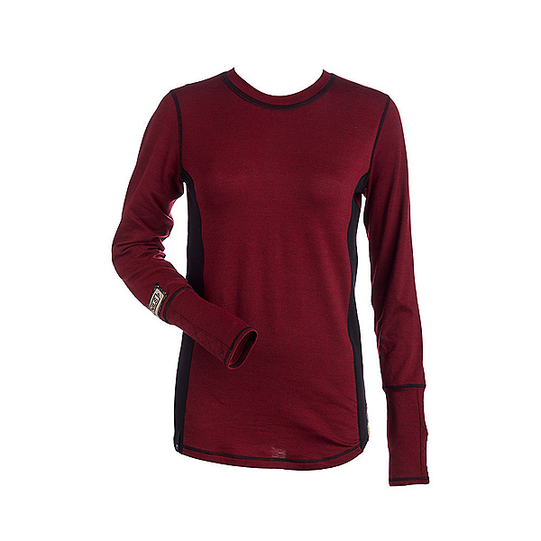 NILS Sally Womens Long Underwear Top, Cranberry-Black-Black, 600