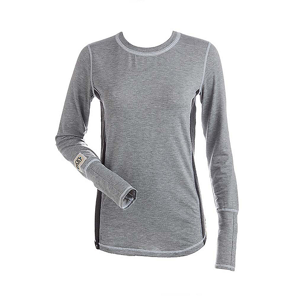 NILS Sally Womens Long Underwear Top, Silver-Charcoal-White, 600