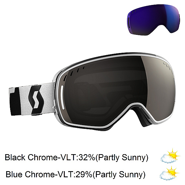 Scott LCG Goggles, Black-White-Solar Black Chrome + Bonus Lens, 600