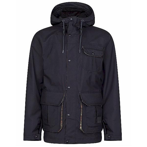 O'Neill Bearded Mens Insulated Snowboard Jacket, Black Out, 600
