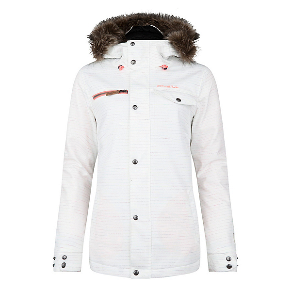 O'Neill Crystaline w/Faux Fur Womens Insulated Snowboard Jacket, Powder White, 600