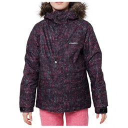 O'Neill Crystal Girls Snowboard Jacket, Black Aop-Pink, 256