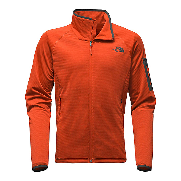 The North Face Borod Full Zip Mens Fleece (Previous Season), Tibetan Orange-Asphalt Grey, 600